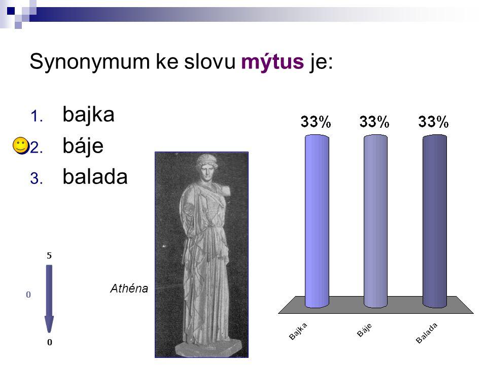 Synonymum ke slovu mýtus je: