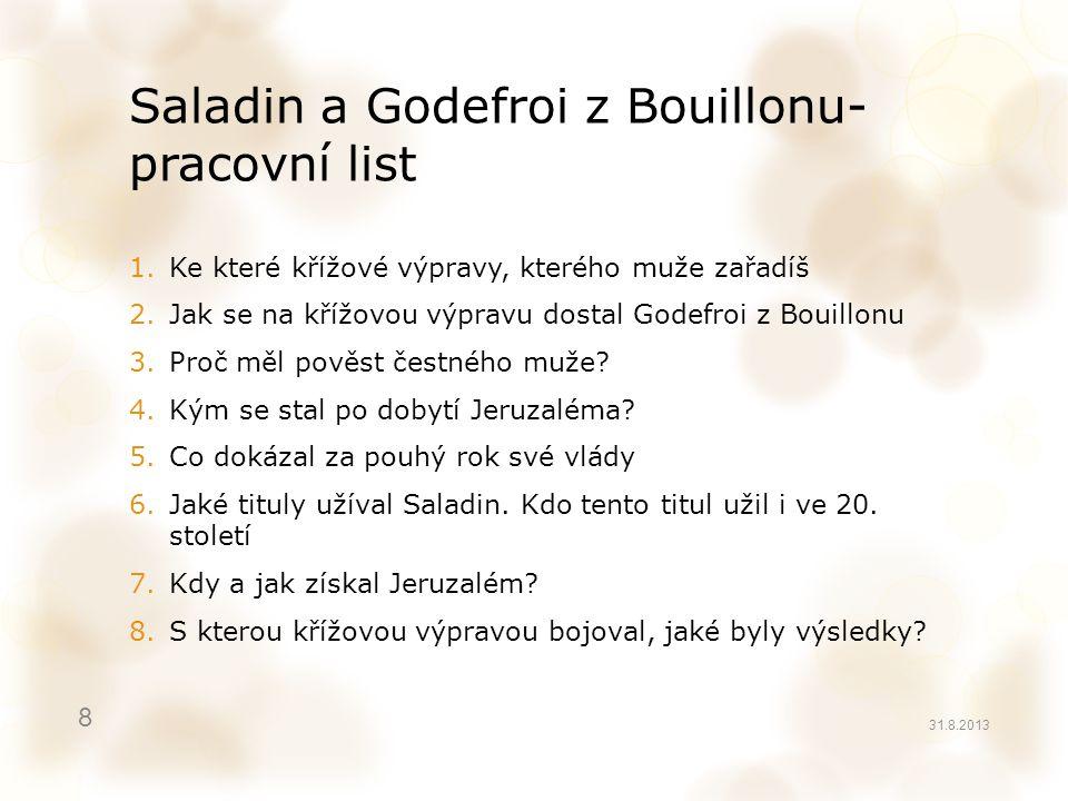 Saladin a Godefroi z Bouillonu- pracovní list