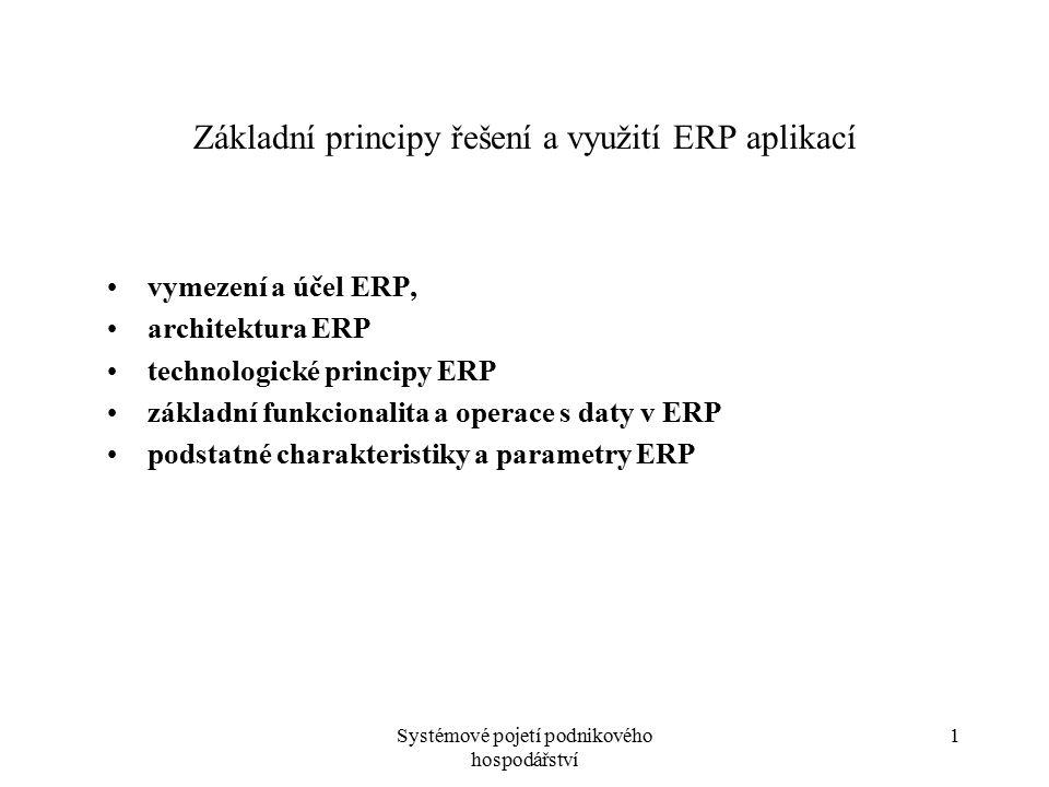 Základní principy řešení a využití ERP aplikací