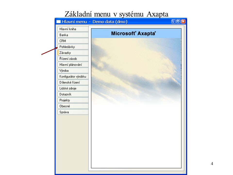 Základní menu v systému Axapta