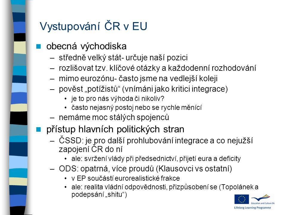 Vystupování ČR v EU obecná východiska
