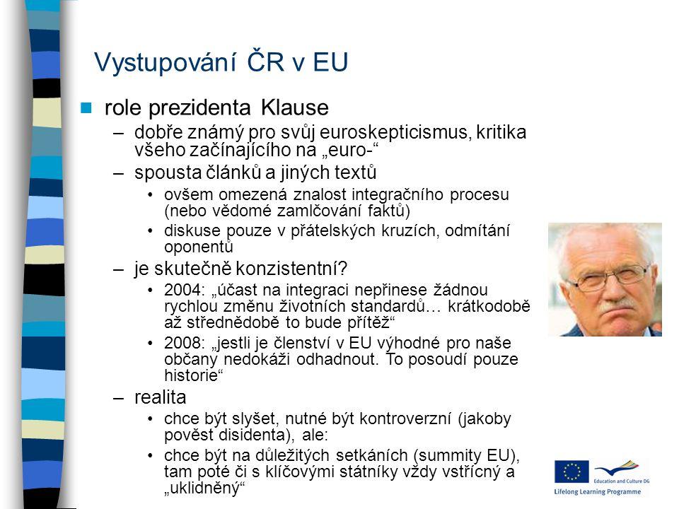 Vystupování ČR v EU role prezidenta Klause