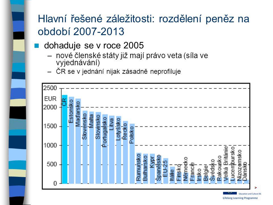 Hlavní řešené záležitosti: rozdělení peněz na období 2007-2013
