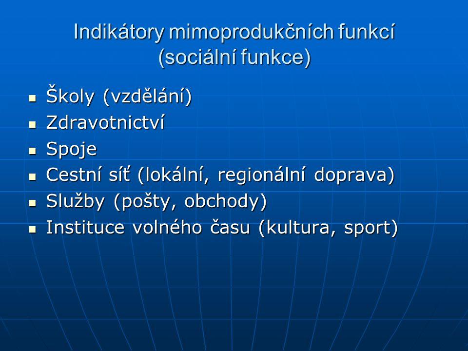 Indikátory mimoprodukčních funkcí (sociální funkce)