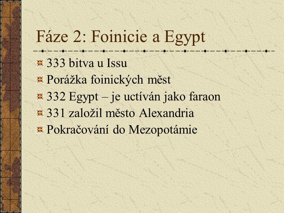 Fáze 2: Foinicie a Egypt 333 bitva u Issu Porážka foinických měst