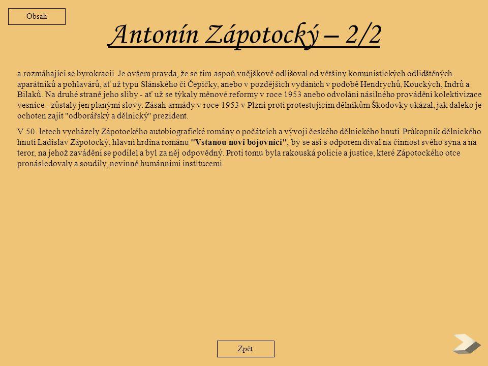 Obsah Antonín Zápotocký – 2/2.