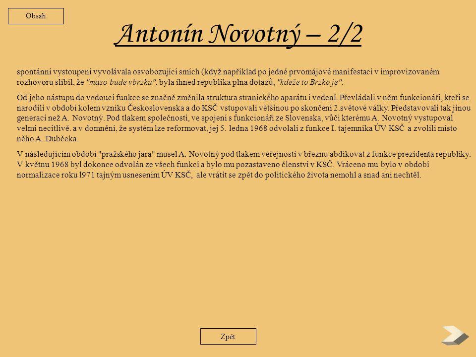 Obsah Antonín Novotný – 2/2.