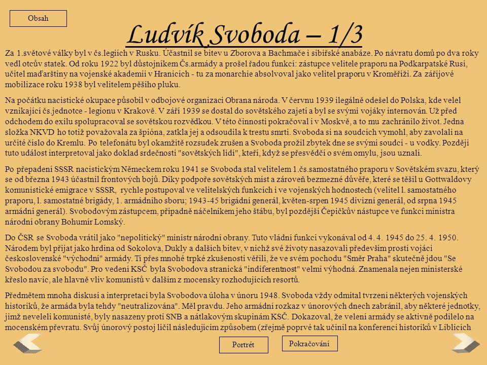 Obsah Ludvík Svoboda – 1/3.