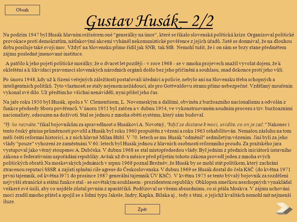 Obsah Gustav Husák– 2/2.