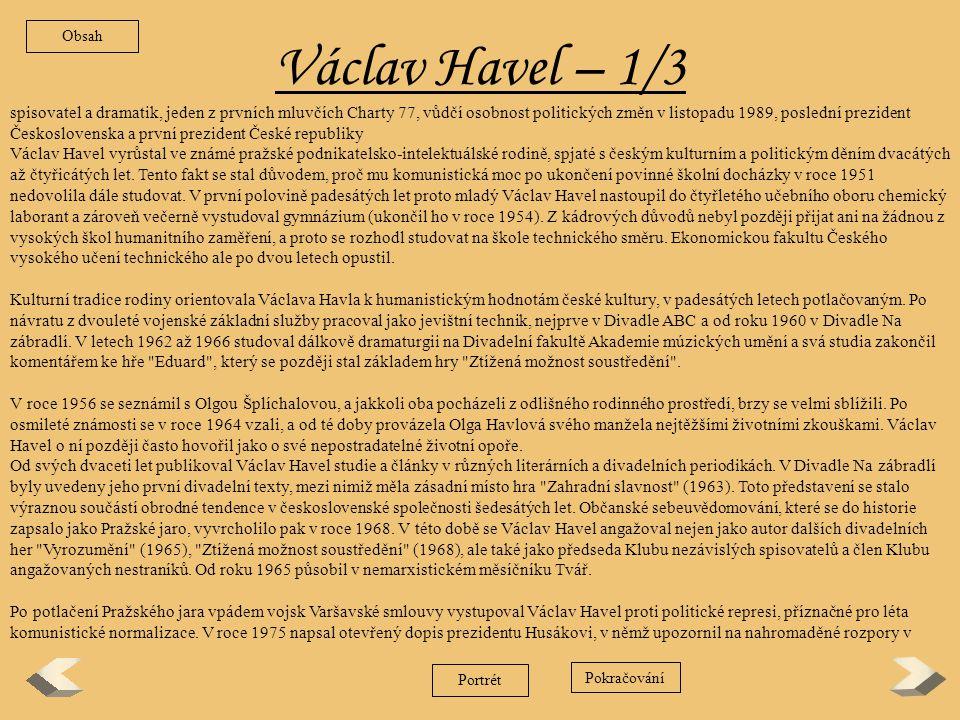 Obsah Václav Havel – 1/3.