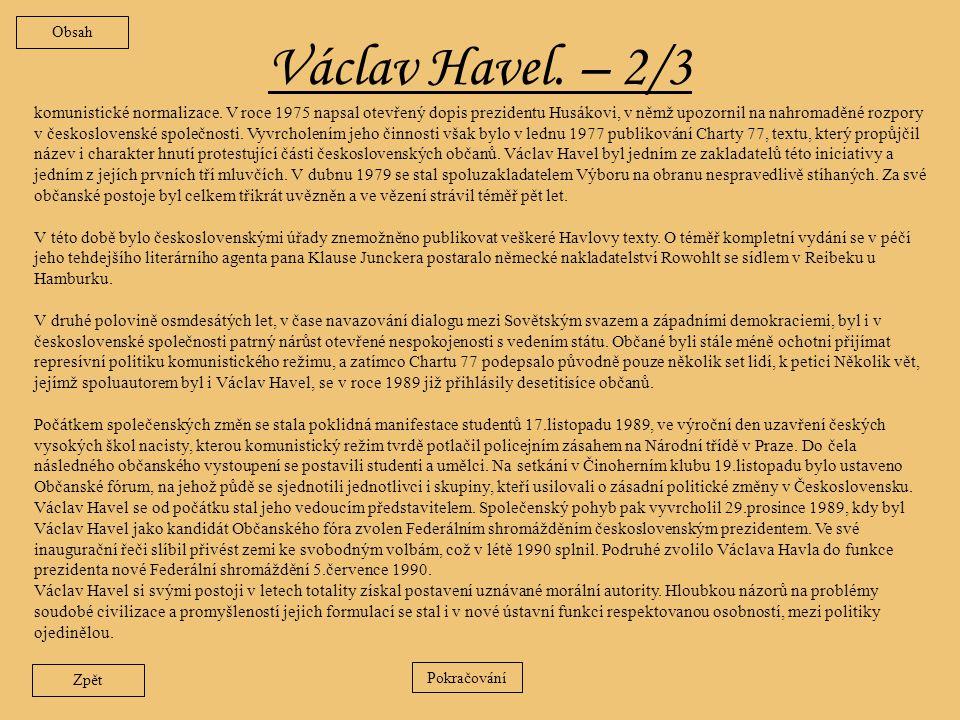 Obsah Václav Havel. – 2/3.