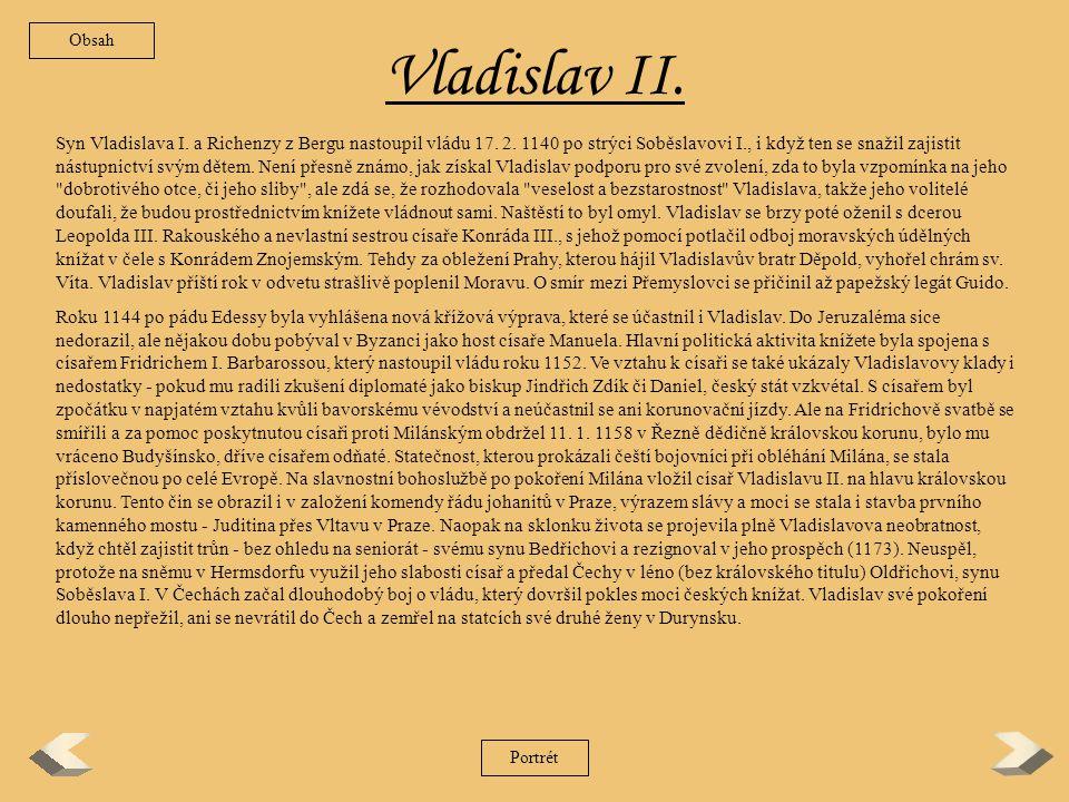 Obsah Vladislav II.