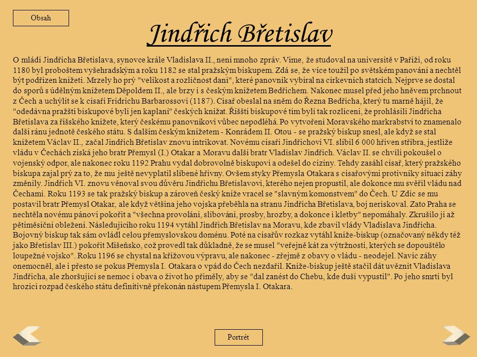 Obsah Jindřich Břetislav.