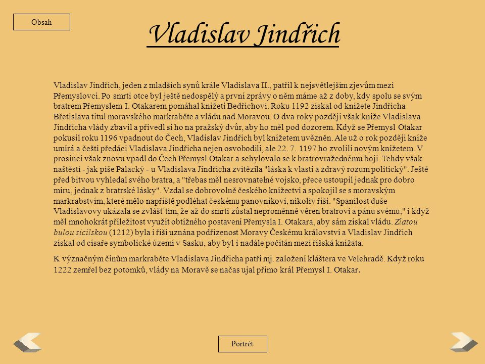 Obsah Vladislav Jindřich.