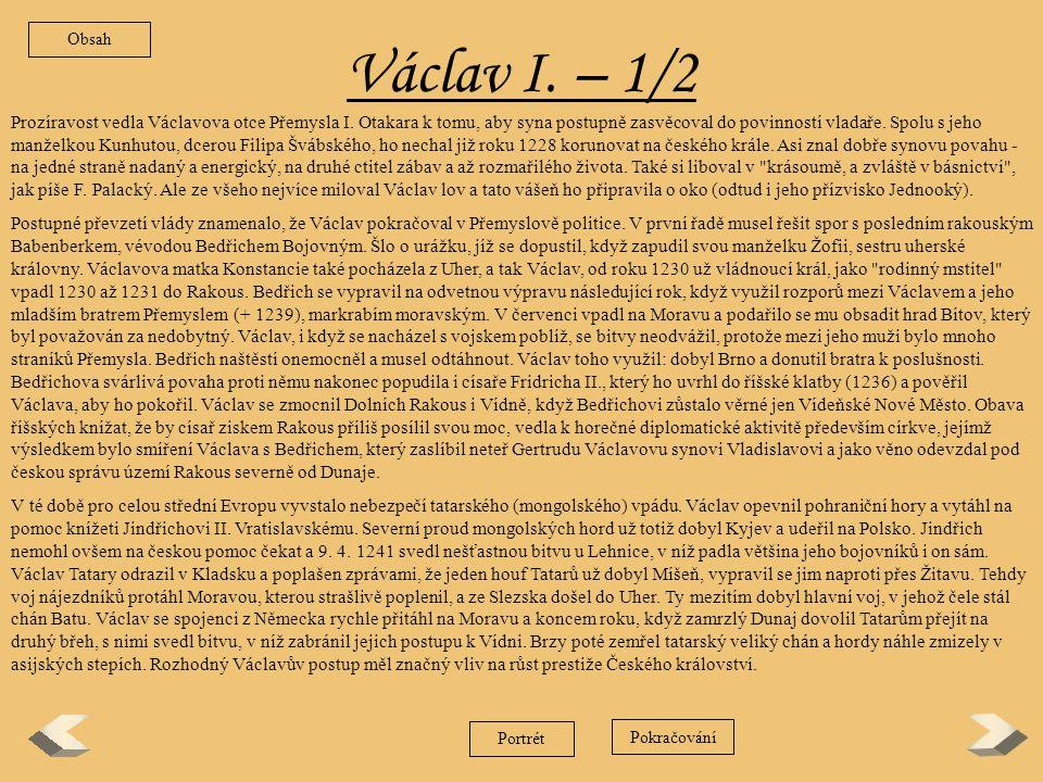 Obsah Václav I. – 1/2.