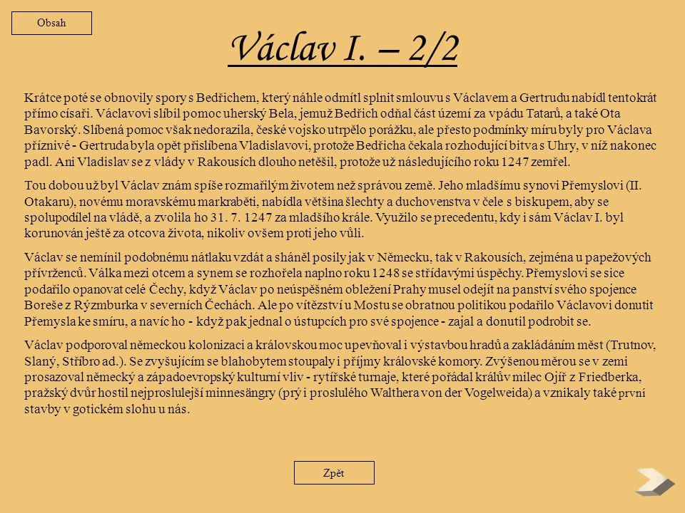 Obsah Václav I. – 2/2.