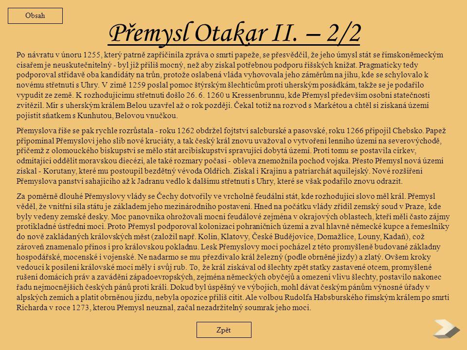 Obsah Přemysl Otakar II. – 2/2.