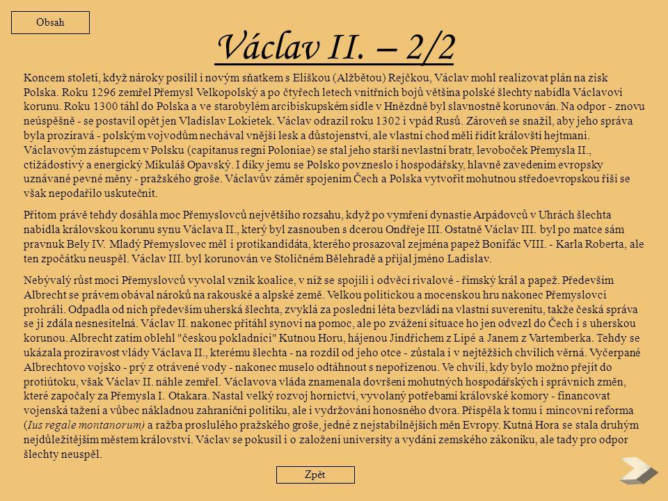 Obsah Václav II. – 2/2.