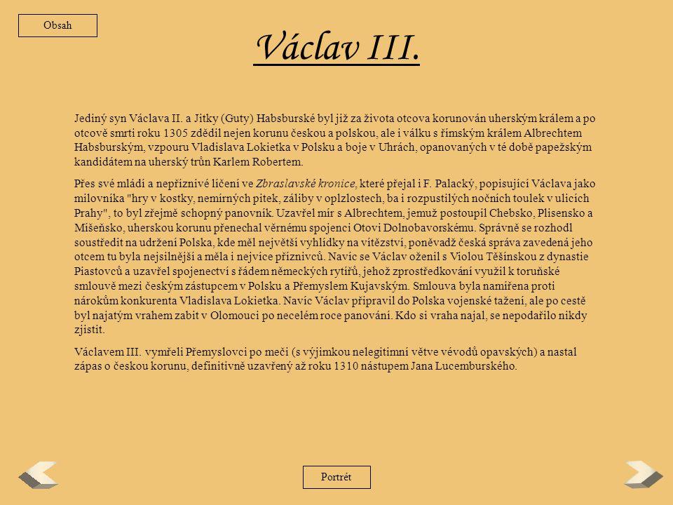 Obsah Václav III.