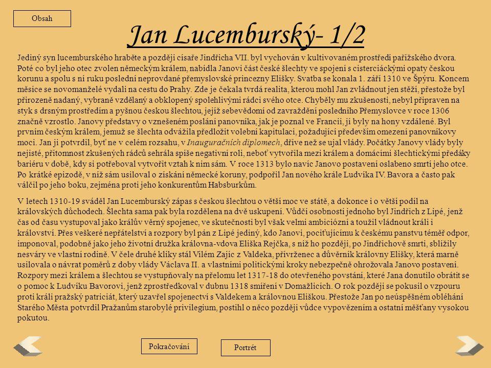 Obsah Jan Lucemburský- 1/2.