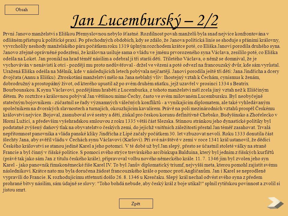 Obsah Jan Lucemburský – 2/2.
