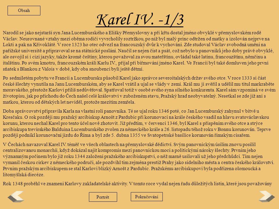 Obsah Karel IV. -1/3.