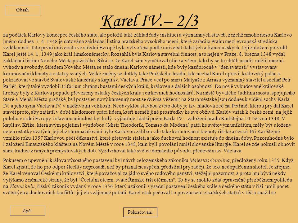 Obsah Karel IV.– 2/3.