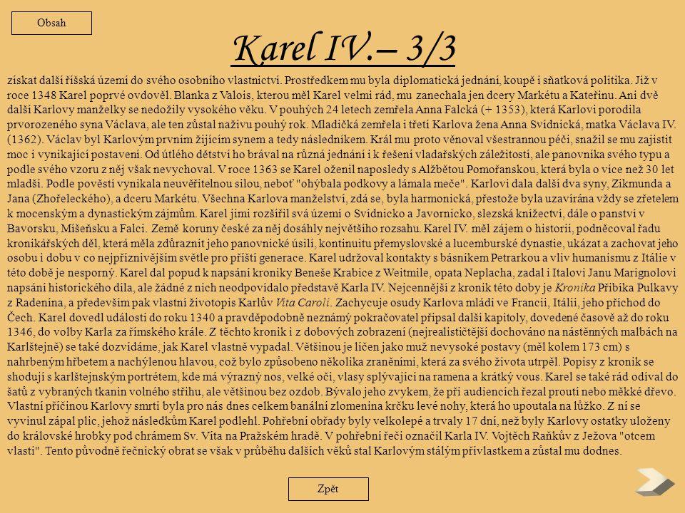 Obsah Karel IV.– 3/3.