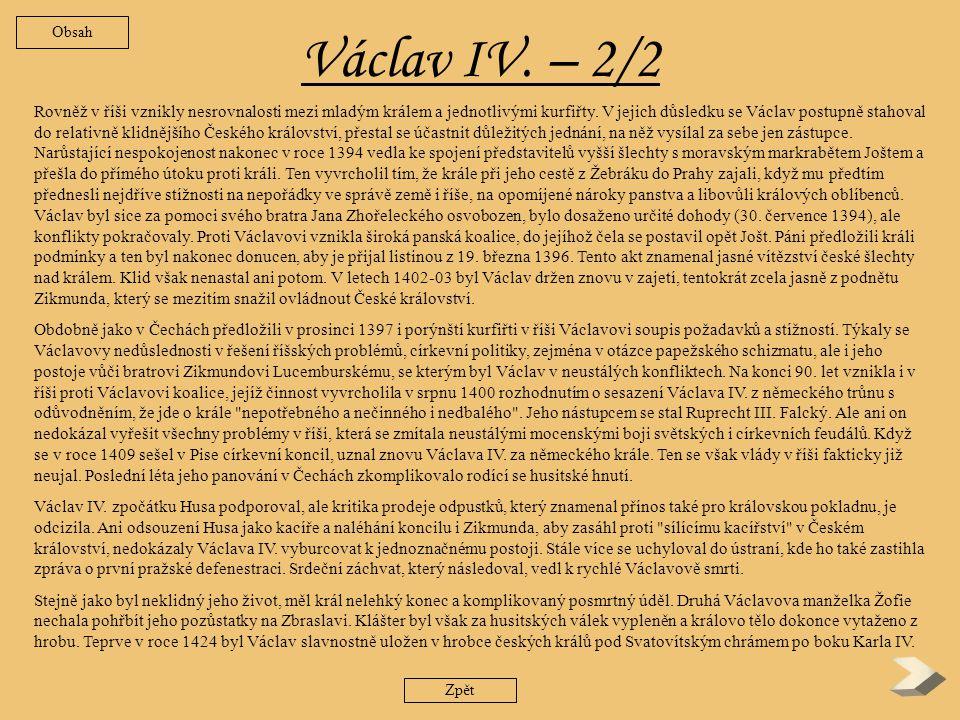 Václav IV. – 2/2 Obsah.