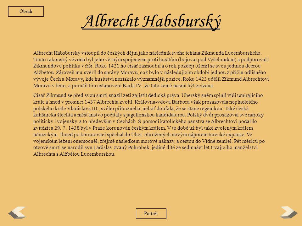 Obsah Albrecht Habsburský.