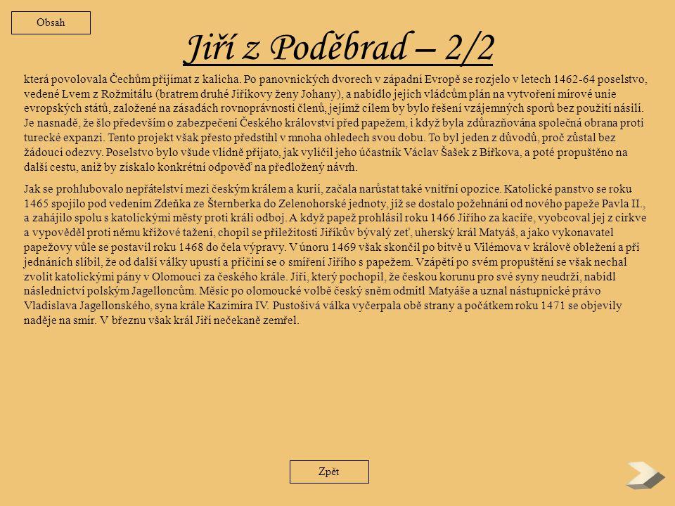 Obsah Jiří z Poděbrad – 2/2.