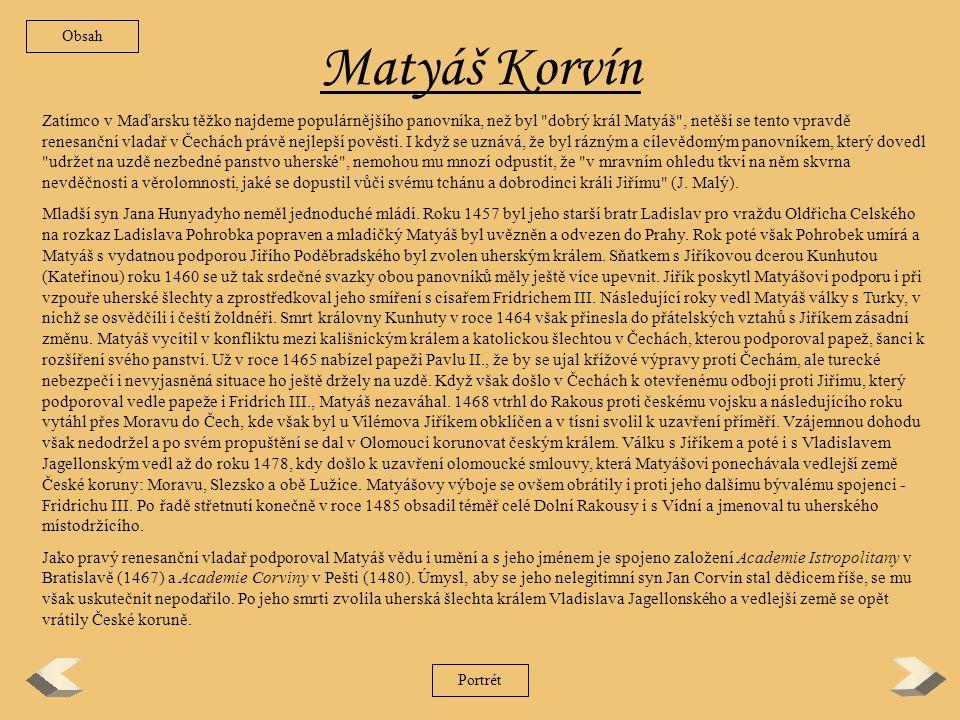 Obsah Matyáš Korvín.