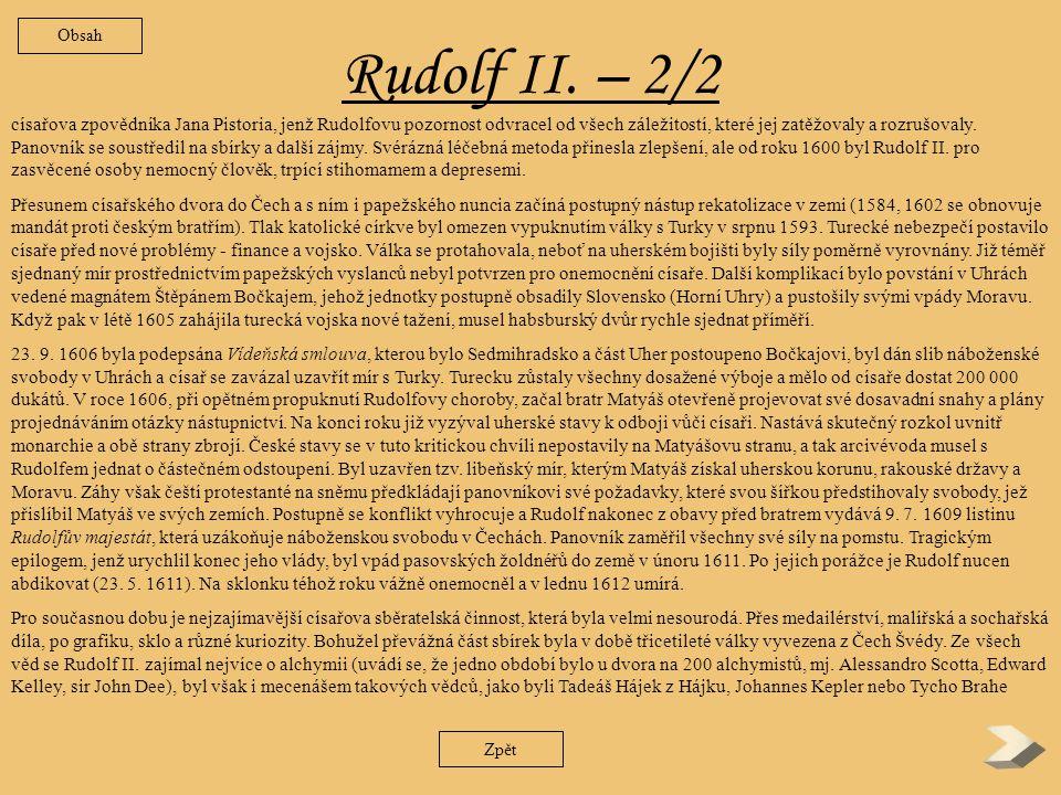 Obsah Rudolf II. – 2/2.