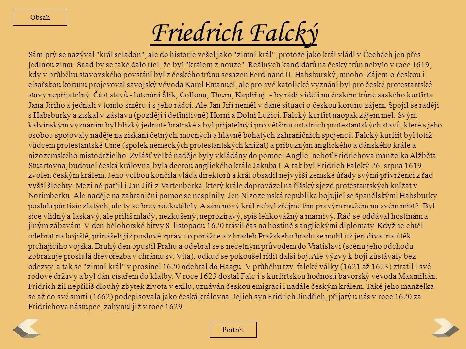 Obsah Friedrich Falcký.