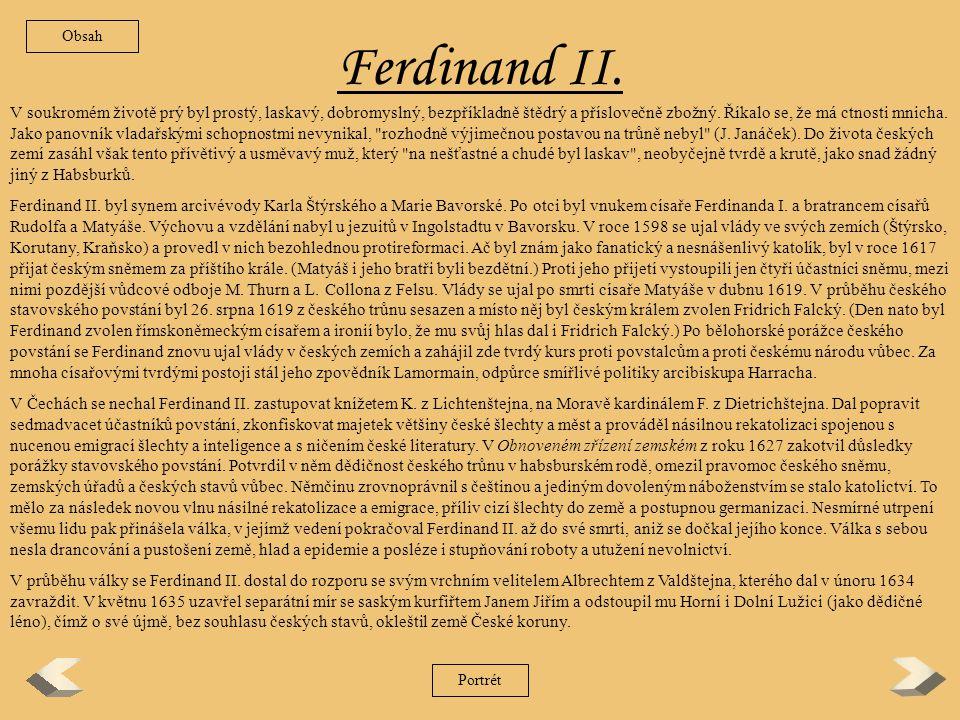 Obsah Ferdinand II.