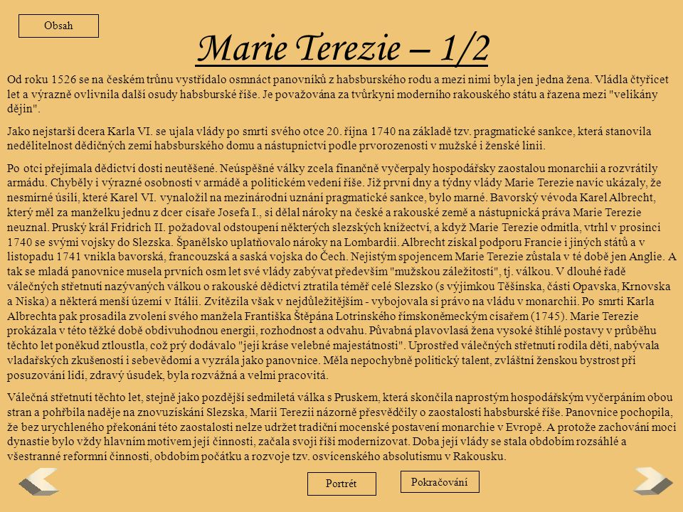 Obsah Marie Terezie – 1/2.