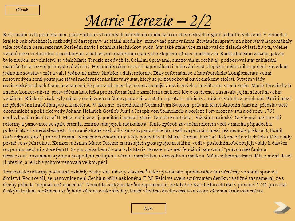 Obsah Marie Terezie – 2/2.