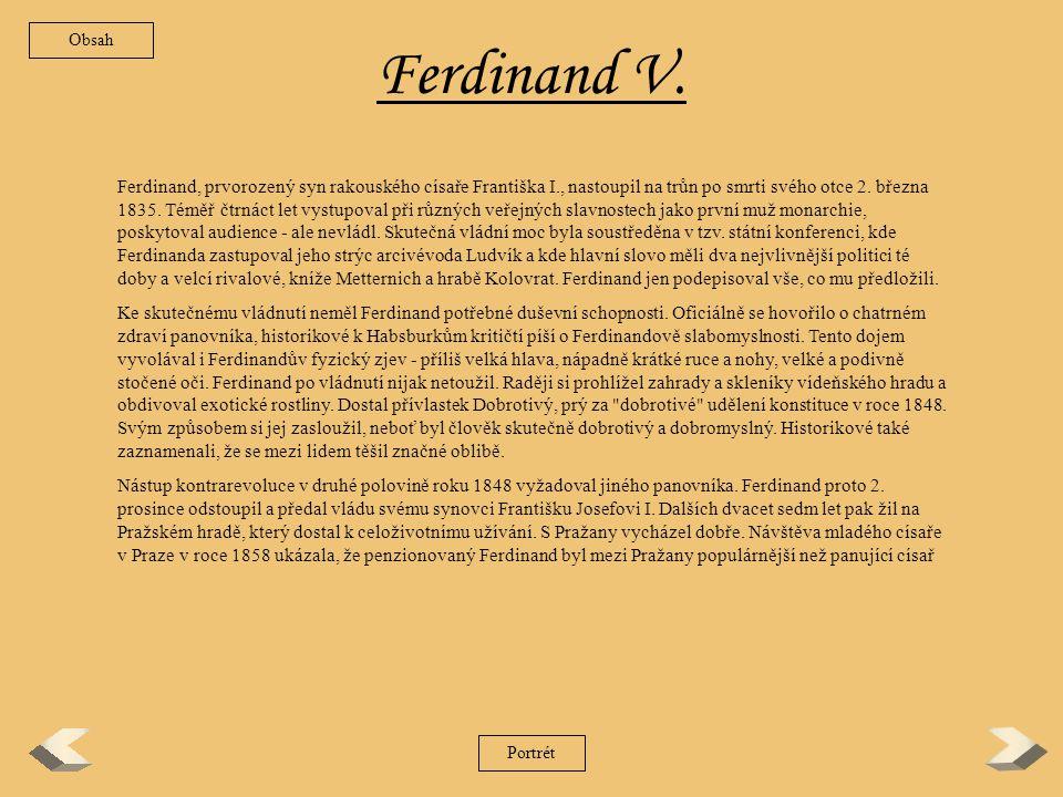 Obsah Ferdinand V.