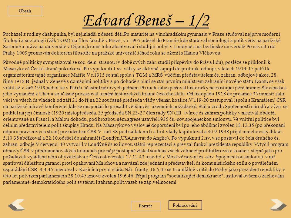 Obsah Edvard Beneš – 1/2.