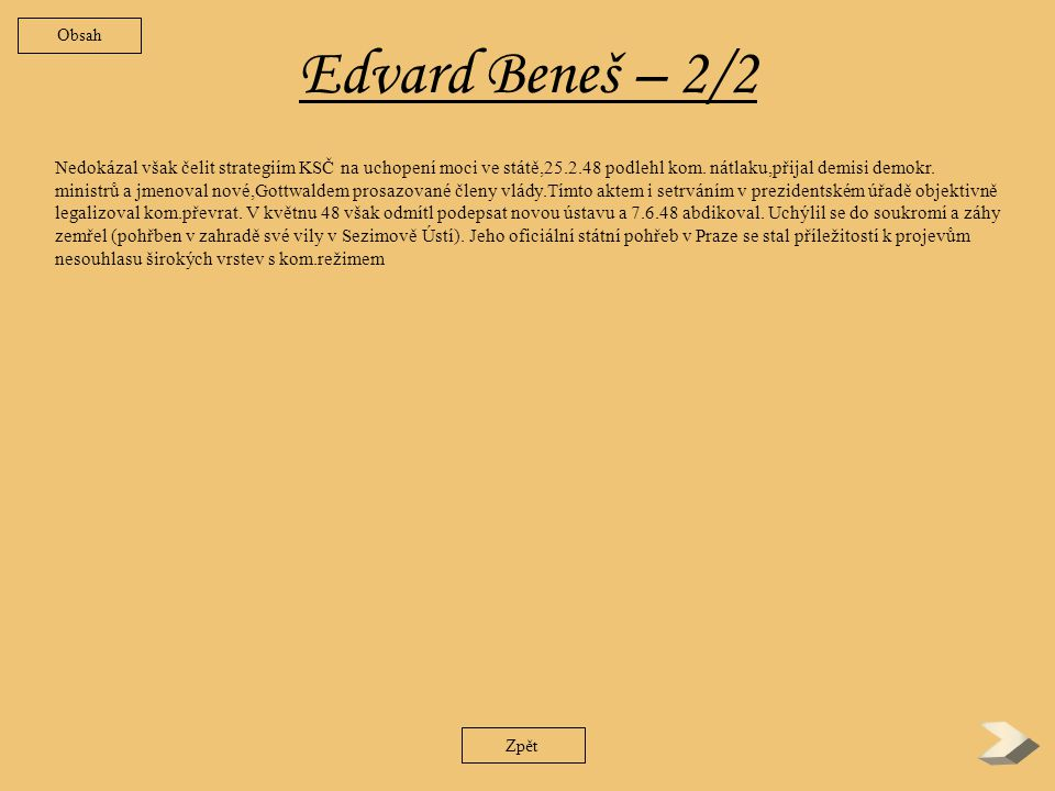 Obsah Edvard Beneš – 2/2.