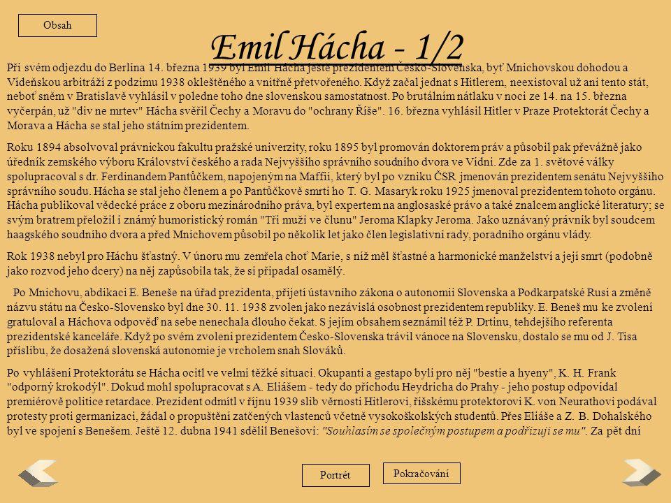 Obsah Emil Hácha - 1/2.