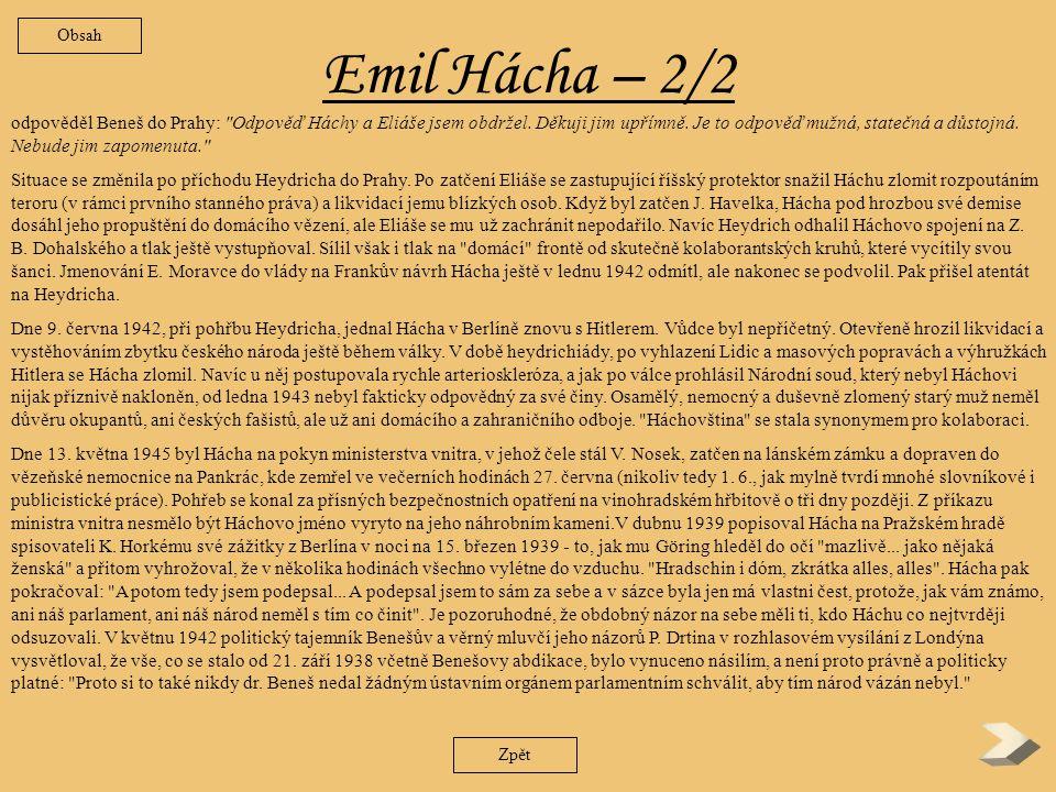 Obsah Emil Hácha – 2/2.