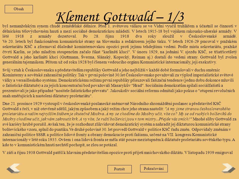 Obsah Klement Gottwald – 1/3.