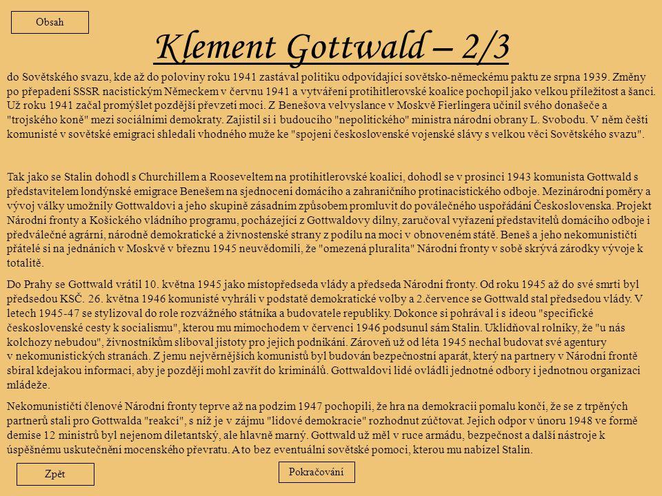 Obsah Klement Gottwald – 2/3.