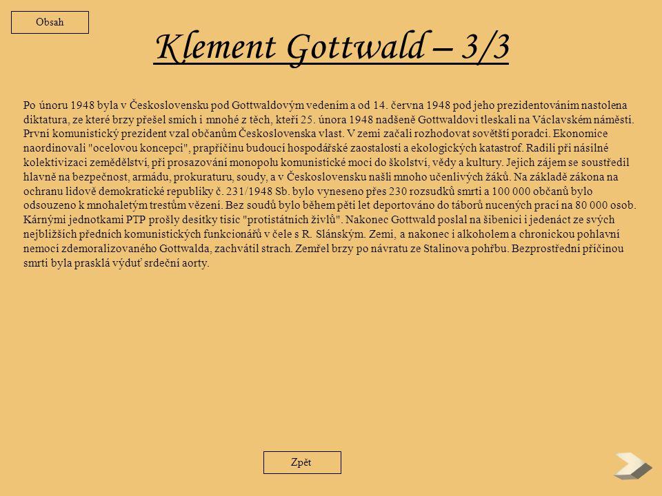 Obsah Klement Gottwald – 3/3.