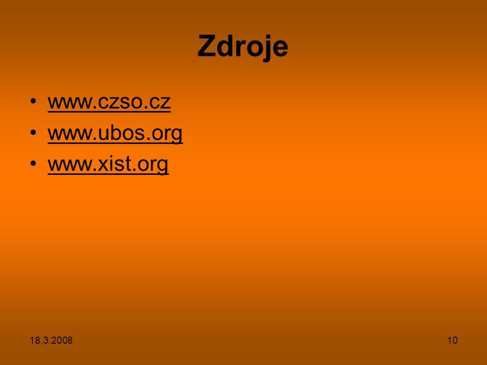 Zdroje www.czso.cz www.ubos.org www.xist.org 18.3.2008