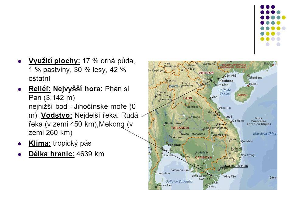 Využití plochy: 17 % orná půda, 1 % pastviny, 30 % lesy, 42 % ostatní