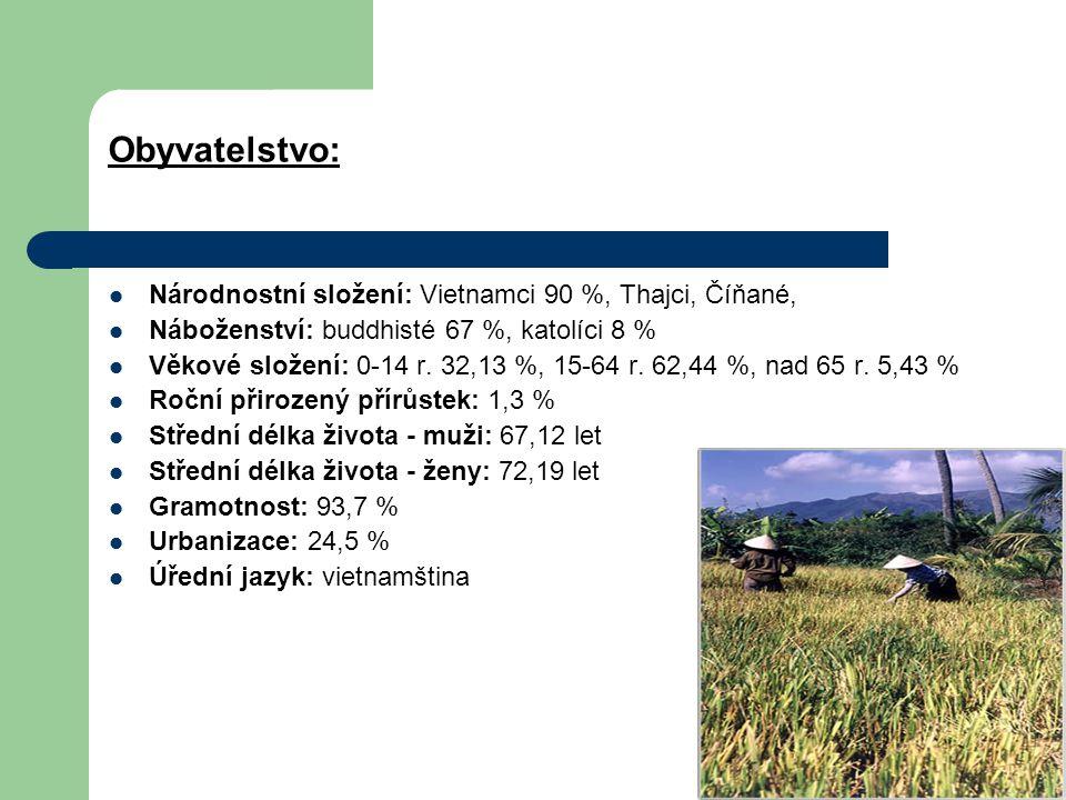 Obyvatelstvo: Národnostní složení: Vietnamci 90 %, Thajci, Číňané,