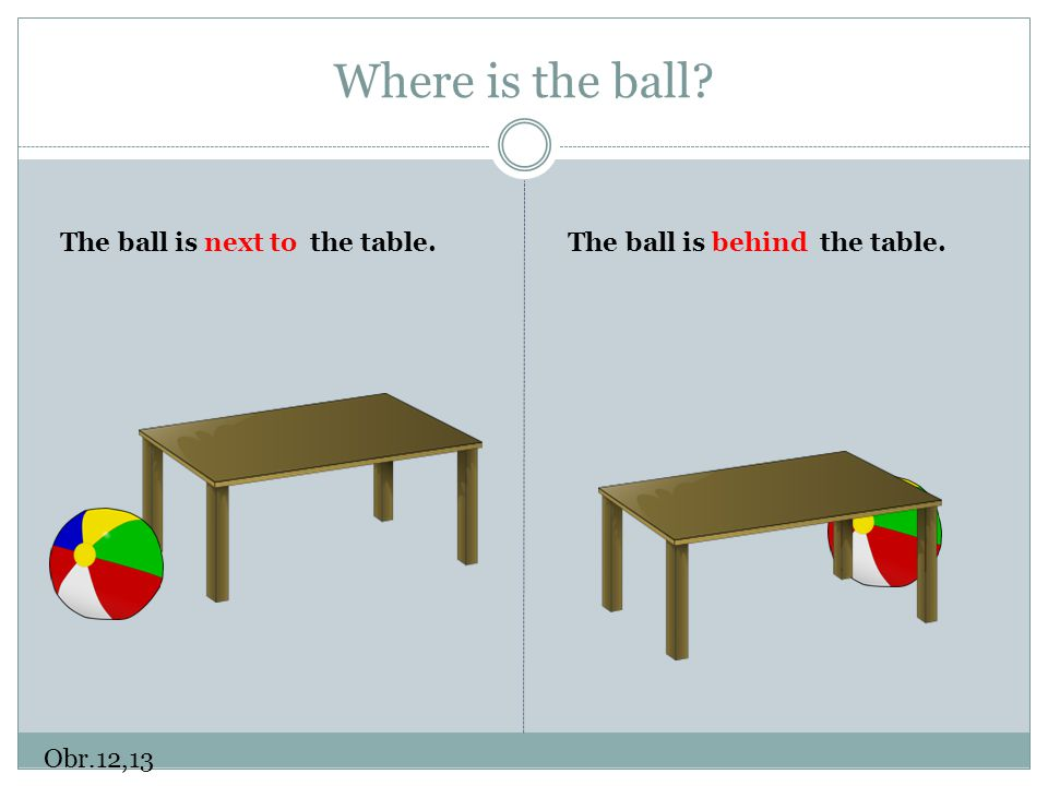Where is the ball The ball is next to the table.