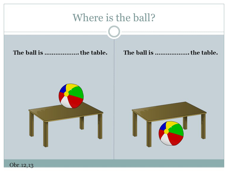 Where is the ball The ball is ………………. the table.